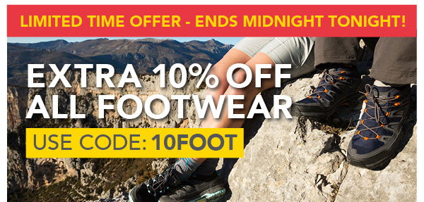 Ends Tomorrow! Extra 10% Off Footwear 10FOOT